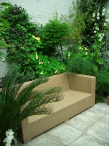 Exterior sofa and Mediterranean style planting